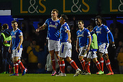 Portsmouth Players Celebrate after Portsmouth Midfielder, Kal Naismith (22) scores a goal to make it 1-0 during the EFL Sky Bet League 2 match between Portsmouth and Morecambe at Fratton Park, Portsmouth, England on 28 February 2017. Photo by Adam Rivers.