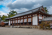 Daikodo (Great Lecture Hall, rebuilt in 990, at Horyuji Templ, Nara Prefecture, Japan. Horyu-ji Temple was founded in 607 by Prince Shotoku, an early promoter of Buddhism in Japan. Horyuji is one of the country's oldest temples and contains the world's oldest surviving wooden structures. It was designated a UNESCO World Heritage Site in 1993. Enclosed by roofed corridors, the Western Precinct is home to the world's oldest surviving wooden structures: the central gate (Chumon), the main hall (Kondo) and a five-story pagoda. They were built sometime in the Asuka Period (538-710) and never suffered destruction, but were renovated multiple times over the centuries.