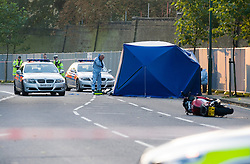 ©London News pictures...  .The scene of a fatal police persuit on Harrow Road, Kensal Green, North West London in which a motorcyclist died early this morning (Mon). The man thought to be in his 20's came off his bike in the early hours of the morning.
