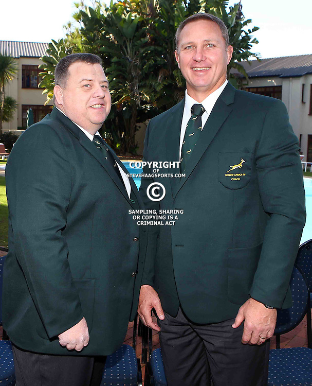 "George, SOUTH AFRICA, 17,June, 2016 - Willem Oliphant  (Team Manager) of South Africa A with Johan Ackermann (Head Coach) of South Africa A during the South Africa ""A""  Team photograph Wildernes Hotel George,Southern Cape  South Africa (Photo by Steve Haag)"