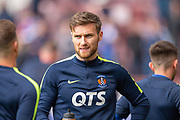 Stephen O'Donnell (#2) of Kilmarnock FC warms up before the Ladbrokes Scottish Premiership match between Heart of Midlothian and Kilmarnock at Tynecastle Stadium, Gorgie, Scotland on 4 May 2019.