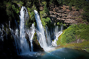 Burney Falls in Central California.  A rainbow is created by the water and sunlight.  Shasta County, California.