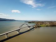The Lake Champlain Bridge traversing Lake Champlain between Crown Point, New York and Chimney Point, Vermont