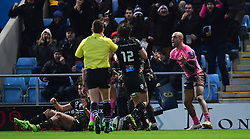 Olly Woodburn of Exeter Chiefs celebrates his try  - Mandatory by-line: Alex Davidson/JMP - 13/01/2018 - RUGBY - Sandy Park Stadium - Exeter, England - Exeter Chiefs v Montpellier - European Rugby Champions Cup