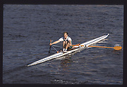 London. United Kingdom. Neil STAITE , 1990 Scullers Head of the River Race. River Thames, viewpoint Chiswick Bridge Saturday 07.04.1990<br /> <br /> [Mandatory Credit; Peter SPURRIER/Intersport Images] 19900407 Scullers Head, London Engl