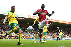 Famara Diedhiou of Bristol City puts Ivo Pinto of Norwich City under pressure - Mandatory by-line: Robbie Stephenson/JMP - 23/09/2017 - FOOTBALL - Carrow Road - Norwich, England - Norwich City v Bristol City - Sky Bet Championship