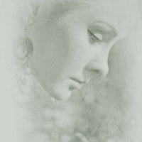 atmospheric photo of beautiful young caucasian woman in profile in retro style