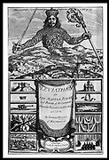 Titl page of 'Leviathan' by Thomas Hobbes (London, 1651). Hobbes (1588-1679) Enlgish political philosopher. Argued for absolute rule.