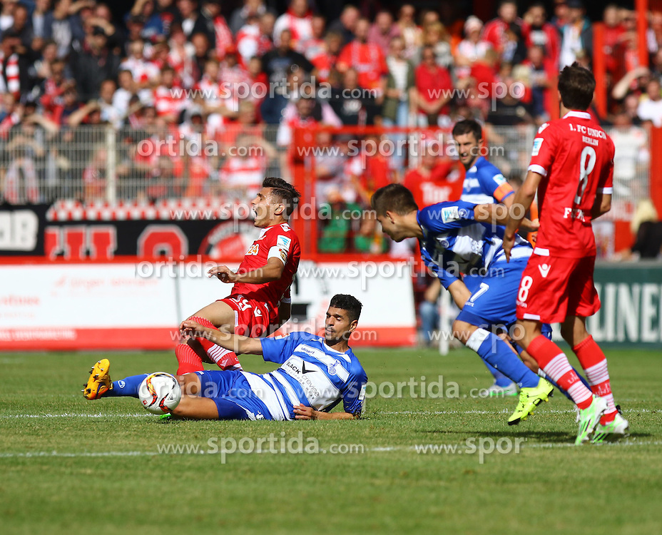 26.09.2015, Alte Foersterei, Berlin, GER, 2. FBL, 1. FC Union Berlin vs MSV Duisburg, 9. Runde, im Bild Damir Kreilach (#19, FC Union Berlin) wird von Enis Hajri (#3, MSV Duisburg) gefoult // SPO during the 2nd German Bundesliga 9th round match between 1. FC Union Berlin and MSV Duisburg at the Alte Foersterei in Berlin, Germany on 2015/09/26. EXPA Pictures &copy; 2015, PhotoCredit: EXPA/ Eibner-Pressefoto/ Hundt<br /> <br /> *****ATTENTION - OUT of GER*****