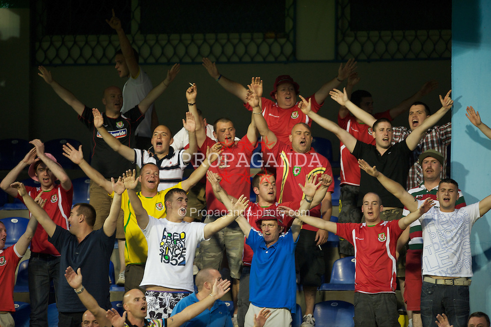 PODGORICA, MONTENEGRO - Friday, September 3, 2010: Wales supporters before the opening UEFA Euro 2012 Qualifying Group 4 match against Montenegro at the Stadion Podgorica. (Pic by David Rawcliffe/Propaganda)