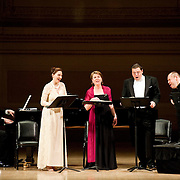 April 25, 2011 - Manhattan, NY :     (STANDING FROM LEFT TO RIGHT) Sylvia Schwartz, Soprano, Bernarda Fink, Mezzo-Soprano, Michael Schade, Tenor, Thomas Quasthoff, Bass-Baritone, and pianists Malcolm Martineau, rear, and Justus Zeyen, front, perform works by Robert Schumann and and Johannes Brahms in Carnegie Hall's Stern Auditorium on Monday night.  ..CREDIT: Karsten Moran for The New York Times