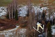 Poland, Wisla Malinka - 2017 November 19: Junshiro Kobayashi from Japan soars through the air at Men&rsquo;s Individual HS134 competition during FIS Ski Jumping World Cup Wisla 2017/2018 - Day 3 at jumping hill of Adam Malysz on November 19, 2017 in Wisla Malinka, Poland.<br /> <br /> Mandatory credit:<br /> Photo by &copy; Adam Nurkiewicz<br /> <br /> Adam Nurkiewicz declares that he has no rights to the image of people at the photographs of his authorship.<br /> <br /> Picture also available in RAW (NEF) or TIFF format on special request.<br /> <br /> Any editorial, commercial or promotional use requires written permission from the author of image.