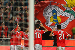 December 9, 2017 - Lisbon, Lisbon, Portugal - Benficas forward Toto Salvio from Argentina celebrates with is team mate after scoring a goal during the Premier League 2017/18 match between SL Benfica v GD Estoril Praia, at Luz Stadium in Lisbon on December 9, 2017. (Credit Image: © Dpi/NurPhoto via ZUMA Press)