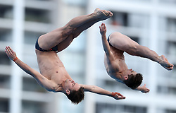 England's Tom Daley (left) and Daniel Goodfellow (right) compete in the Men's Synchronised 10m Platform Final at the Optus Aquatic Centre during day nine of the 2018 Commonwealth Games in the Gold Coast, Australia.