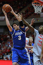 02 January 2013:  Doug McDermott pulls a rebound away from Johnny Hill during an NCAA Missouri Vally Conference (MVC) mens basketball game between the Creighton University Bluejays and the Illinois State Redbirds in Redbird Arena, Normal IL