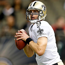 Sep 22, 2013; New Orleans, LA, USA; New Orleans Saints quarterback Drew Brees (9) against the Arizona Cardinals prior to kickoff of a game at Mercedes-Benz Superdome. Mandatory Credit: Derick E. Hingle-USA TODAY Sports