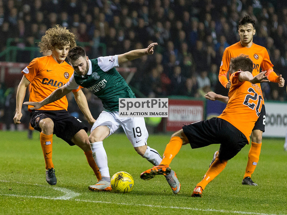 Hibernian FC v Dundee Utd FC<br /> <br /> James Keatings (Hibernian) breaks through during the Quarter Final of the Scottish League Cup match between Hibernian and Dundee Utd FC at Easter Road Stadium on Wednesday 4 November 2015.<br /> <br /> Picture Alan Rennie.
