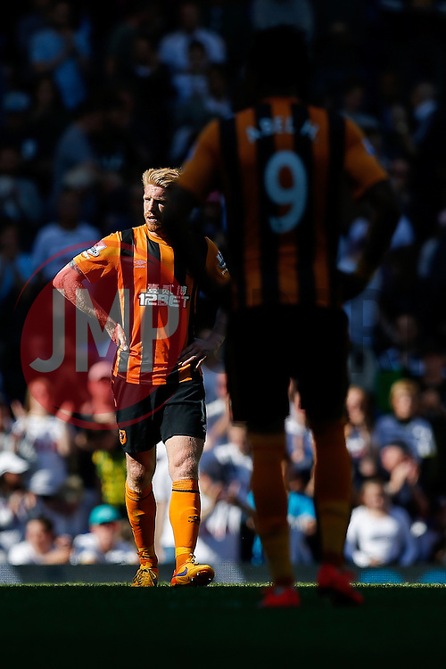 Paul McShane looks dejected after Hull City lose 2-0 to Tottenham Hotspur - Photo mandatory by-line: Rogan Thomson/JMP - 07966 386802 - 16/05/2015 - SPORT - FOOTBALL - London, England - White Hart Lane - Tottenham Hotspur v Hull City - Barclays Premier League.