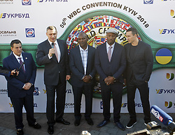 October 1, 2018 - Kiev, Ukraine - (L-R) WBC President Mauricio Sulaiman,Kiev's Mayor and ex heavyweight boxing champion Vitali Klitschko, ex boxing champion of the World Evander Holyfield,ex boxing champion Lennox Lewis and Ukrainian heavyweight boxing champion Vladimir Klitschko attend an official opening of the 56th WBC ( World Boxing Council ) Convention in Kiev, Ukraine, 01 October, 2018. The 56th WBC Convention takes place in Kiev from September 30 to October 05. The event participate of boxing legends Lennox Lewis, Evander Holyfield, Eric Morales, Alexander Usik, Vitali Klitschko and about 700 congress participants from 160 countries. (Credit Image: © Str/NurPhoto/ZUMA Press)