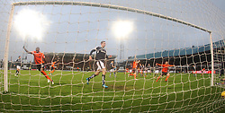 Dundee United&rsquo;s Guy Demel cele their goal.   <br /> Dundee 2 v 1  Dundee United, SPFL Ladbrokes Premiership game played 2/1/2016 at Dens Park.