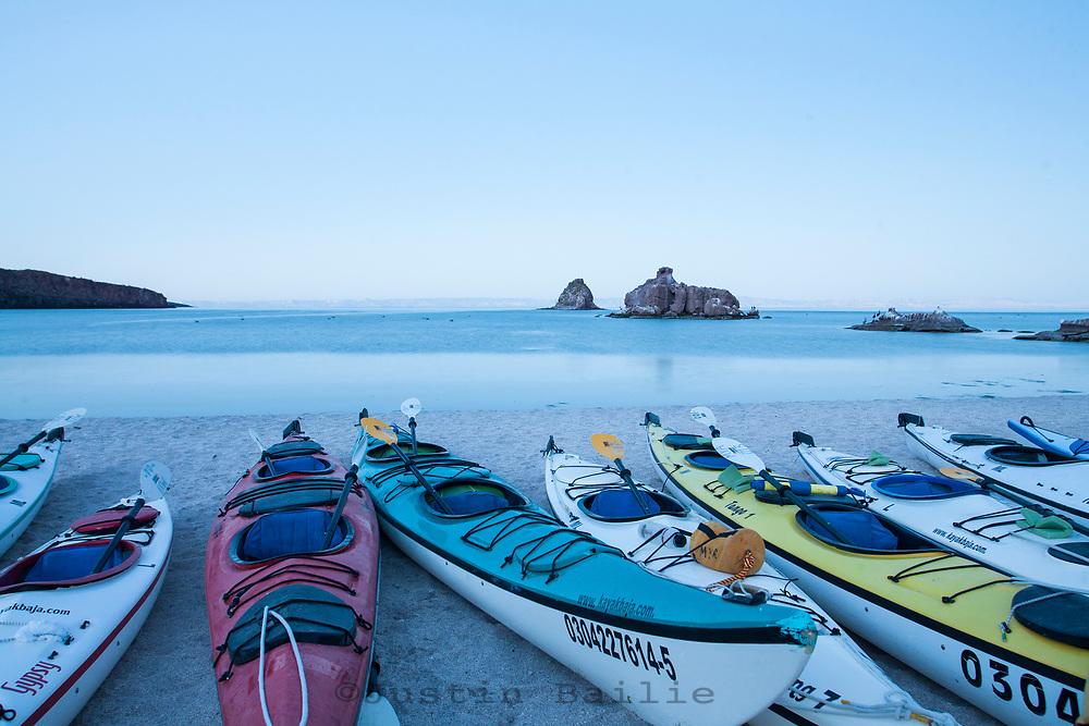 Scenic of kayak camp on Isla Espiritu Santo in the Sea of Cortez, Mexico