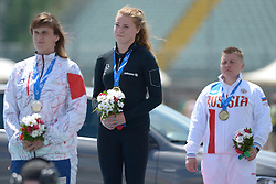 13 / 06 / 2016,  Noelle Lenihan (Charleville, Co. Cork), F38 class, North Cork Athletic Club pictured on podium with Gold Medal, F38 Discus, at the 2016 IPC Athletic European Championships in Grosseto, Italy