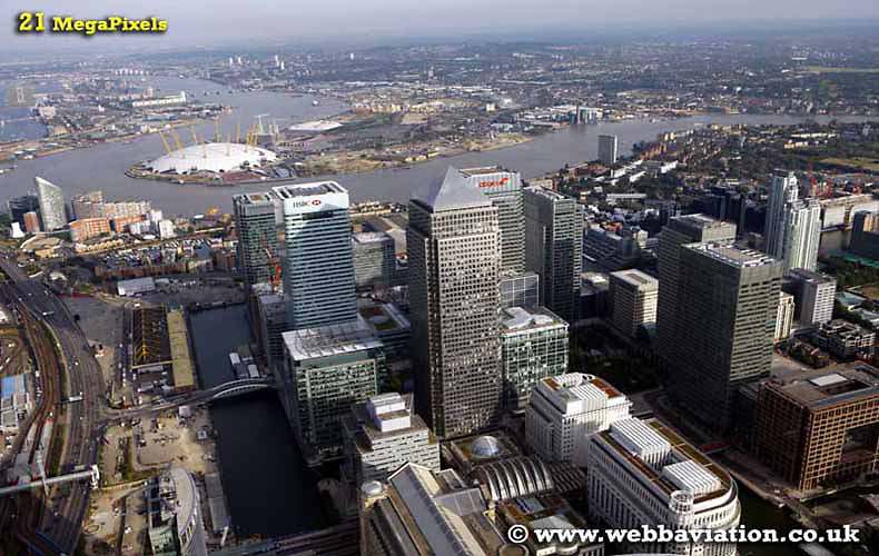 aerial photograph of London Docklands Canary Wharf  England UK