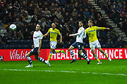 Patrick Bamford of Leeds United (9) shoots during the EFL Sky Bet Championship match between Preston North End and Leeds United at Deepdale, Preston, England on 9 April 2019.