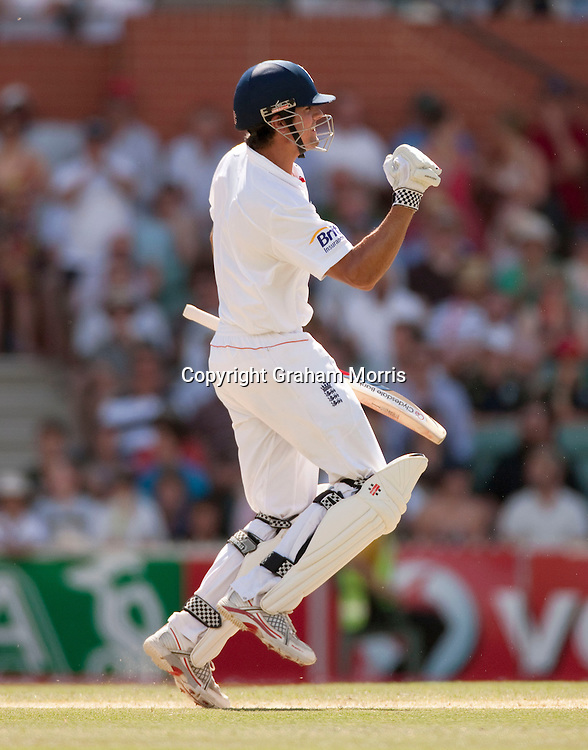 Alastair Cook celebrates his century in the second Ashes Test Match between Australia and England at the Adelaide Oval. Photo: Graham Morris (Tel: +44(0)20 8969 4192 Email: sales@cricketpix.com) 4/12/10