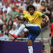 Marcelo, Brazil, in action during the Brazil V Mexico Gold Medal Men's Football match at Wembley Stadium during the London 2012 Olympic games. London, UK. 11th August 2012. Photo Tim Clayton