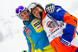 Rok Perko and Jure Kosir during last race of Andrej Jerman, Slovenian best downhill skier when he finished his professional alpine ski career on April 6, 2013 in Krvavec Ski resort, Slovenia. (Photo By Vid Ponikvar / Sportida)