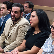 AUGUST 13, 2018---FORT LAUDERDALE, FLORIDA--<br /> Michael Ibar, in Beige jacket, Pablo Ibar's brother, and Tanya Ibar, in black dress, Pablo's wife, smile as they see him walk in the courtroom  at the beginning of a hearing to schedule his new trial. Ibar has been in jail  for 24 years accused of the murders of a bar owner and two models in his house following a home invasion.<br /> (Photo by Angel Valentin)