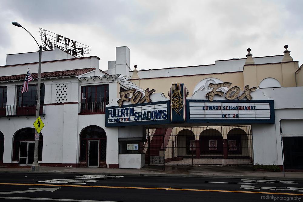 Historic Fox Fullerton marquee as seen from Harbor Blvd. Color. Fullerton, CA.