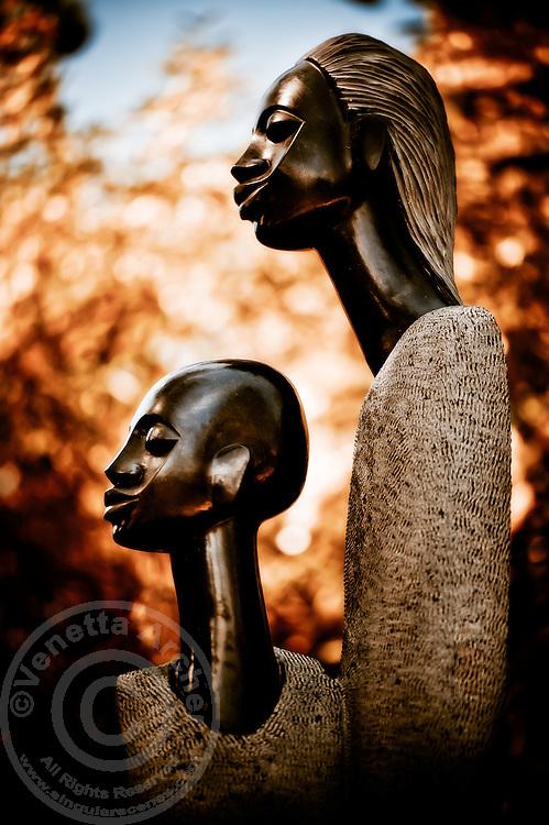Zimsculpt at Van Dusen Botanical Garden: Mother and Son - springstone sculpture by Joe Mutasa (original sculpture available at www.zimsculpt.com)