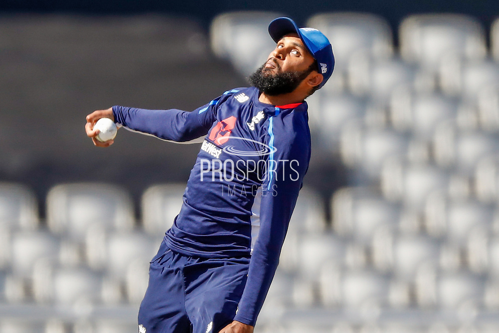 England T20 bowler Adil Rashid warming up  during the International T20 match between England and India at Old Trafford, Manchester, England on 3 July 2018. Picture by Simon Davies.