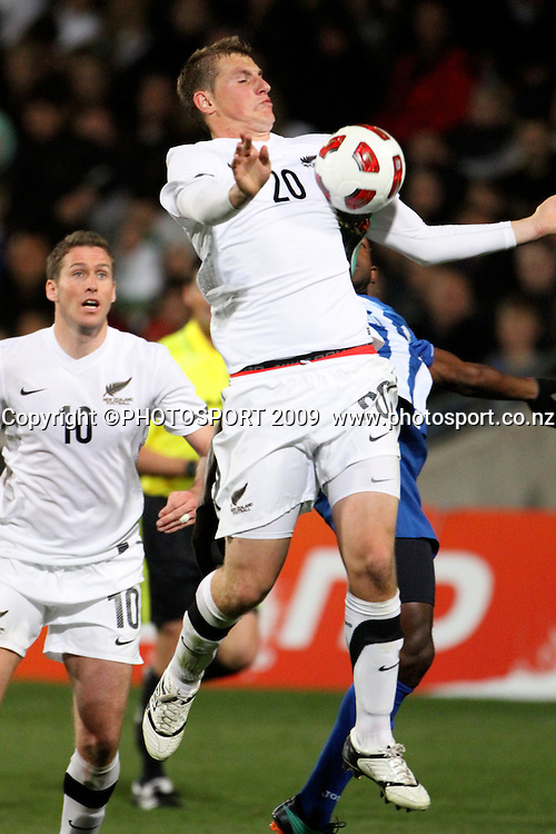 Chris Woods gets a boot under his arm as he goes for a high ball. ASB International Series, All Whites v Honduras, North Harbour Stadium Albany, Saturday 9th October 2010. Photo: John Cowpland / photosport.co.nz