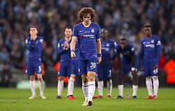 Chelsea's David Luiz (centre) appears dejected after his side lose the penalty shoot out