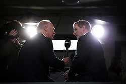 Repro Free: Punchestown 01/05/2014 An Taoiseach Enda Kenny TD pictured speaking with RTE Racing's Robert Hall at the Punchestown Racing Festival 2014. Picture Andres Poveda
