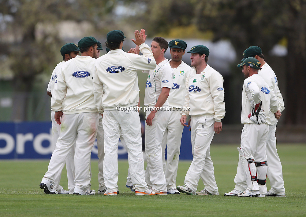 The Stags celebrate a wicket in the Plunket Shield cricket match between the Central Districts Stags and the Wellington Firebirds at Nelson Park, Napier,  New Zealand.Monday, 29 October, 2012. Photo: John Cowpland / photosport.co.nz