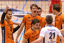 14-04-2019 NED: Achterhoek Orion - Draisma Dynamo, Doetinchem<br /> Orion win the fourth set and play the final round against Lycurgus. Dynamo won 2-3 / Shalev Saada #5 of Orion, Twan Wiltenburg #9 of Orion, Pim Kamps #7 of Orion, Joris Marcelis #4 of Orion