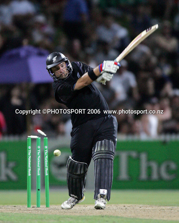 NZ batsman Craig McMillan is bowled by Shane Watson for 117 off 96 balls during the 3rd Chappell Hadlee one day match at Seddon Park, Hamilton, New Zealand on Tuesday 20 February 2007. Photo: Andrew Cornaga/PHOTOSPORT<br /><br /><br />200207