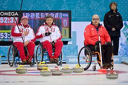 Gregor Ewan, Marat Romanov, Andrey Smirnov, Wheelchair Curling Semi Finals at the 2014 Sochi Winter Paralympic Games, Russia