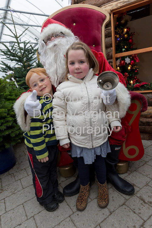 Repro Free no charge for repro<br /> 29-11-14<br /> Tom Buckley aged 3 from Paulstown Co. Kilkenny and Lucy Sweetman aged 4 from Kilkenny pictured with Santa Claus at the Arboretum &quot; Your Home and Garden Heaven&quot; in Carlow over the weekend.<br /> <br /> <br />  Picture Dylan Vaughan.
