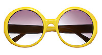 Forever 21 yellow sunglasses on white background