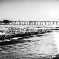 Orange County California Balboa Pier picture in black and white.  Balboa Pier is located on the Pacific Ocean on Balboa Peninsula in Newport Beach California.