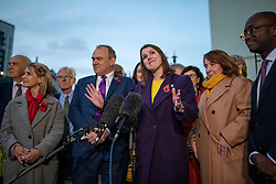 © Licensed to London News Pictures. 30/10/2019. London, UK. Leader of the Liberal Democrats Jo Swinson MP (centre) speaks to the media outside Parliament about the upcoming general election with her shadow cabinet stood around her. MPs have voted in favour of a 12 December general election in order to break the deadlock in parliament over Brexit. Photo credit: Rob Pinney/LNP