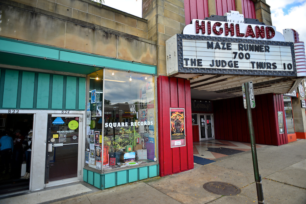 Exterior of Square Records and Highland Theatre.
