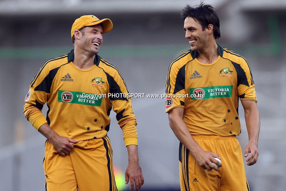 Australia's &quot;Mr Cricket&quot; Michael Hussey has a laugh with Mitchell Johnson.<br />2nd one day international. New Zealand Black Caps versus Australia one day Chappell Hadlee cricket series. Eden Park, Auckland, New Zealand. Saturday 6 March 2010. Photo: Andrew Cornaga/PHOTOSPORT