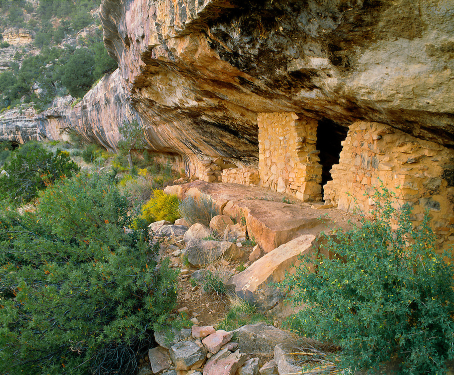 0120-1000 ~ Copyright:  George H. H. Huey ~ One of over 80 Sinagua culture dwellings in Walnut Canyon, occupied from A.D. 1120-A.D.1225.  Walnut Canyon National Monument, Arizona.