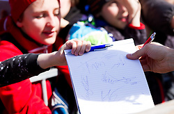 Young Fans with auto grams  during Flying Hill Individual Qualifications at 1st day of FIS Ski Jumping World Cup Finals Planica 2012, on March 15, 2012, Planica, Slovenia. (Photo by Vid Ponikvar / Sportida.com)